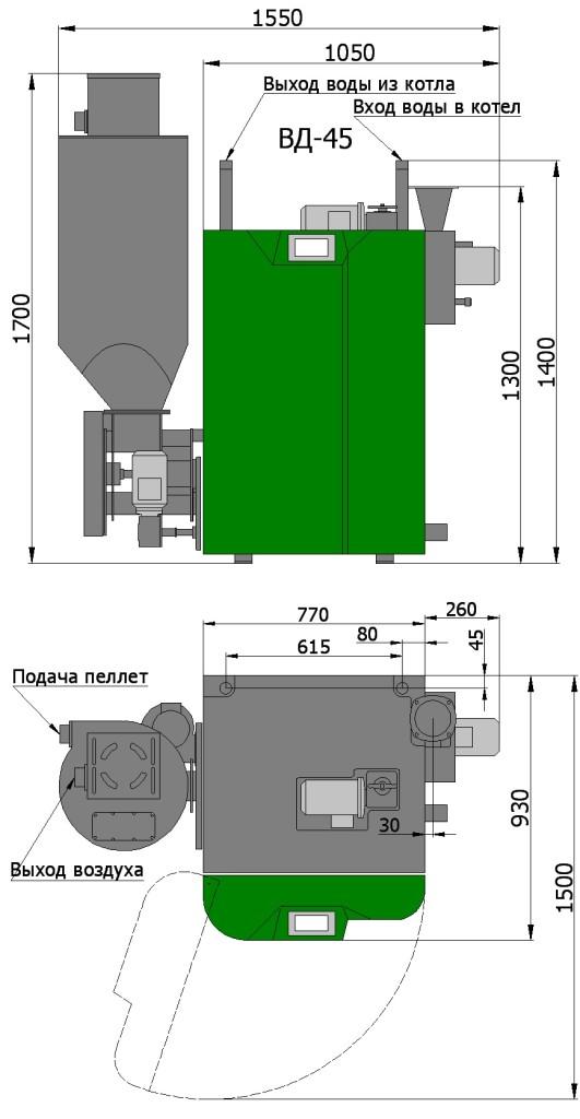 Пеллетный котел Светлобор ВД 45
